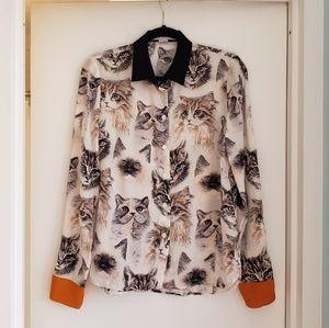 STELLA MCCARTNEY  Cat Print Blouse